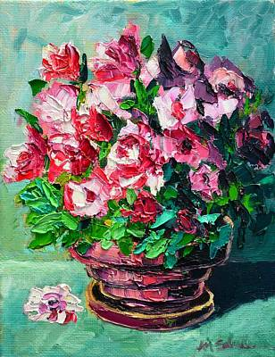 Pottery Painting - Pink Flowers by Ana Maria Edulescu