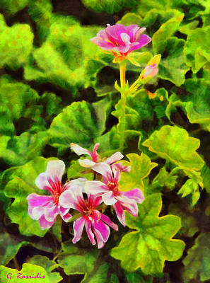Nature Painting - Pink Flowers by George Rossidis
