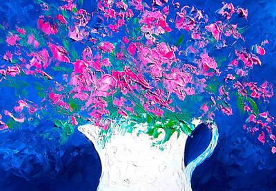 Pink Flowers In A Jug Art Print by Jan Matson