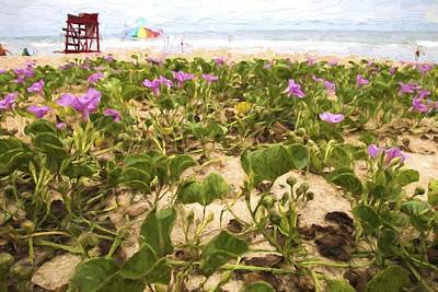 Photograph - Pink Flowers On The Beach by Alice Gipson