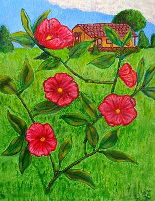Art Print featuring the painting Pink Flowers by Sheri Keith