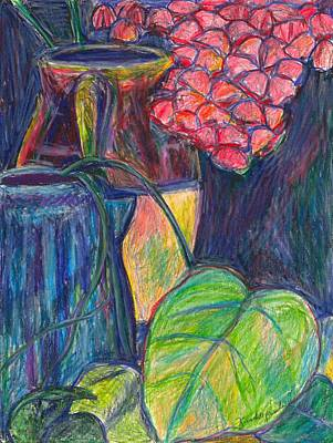 Still Life Drawings - Pink Flowers This Time by Kendall Kessler