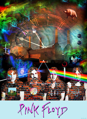 Celebrities Royalty-Free and Rights-Managed Images - Pink Floyd Collage by Mal Bray
