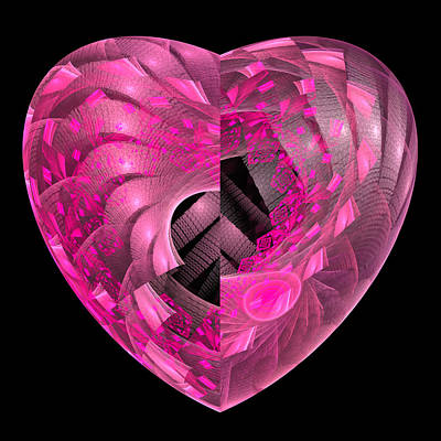 Abstract Hearts Digital Art - Pink Fractal Heart Square Format Poster by Matthias Hauser