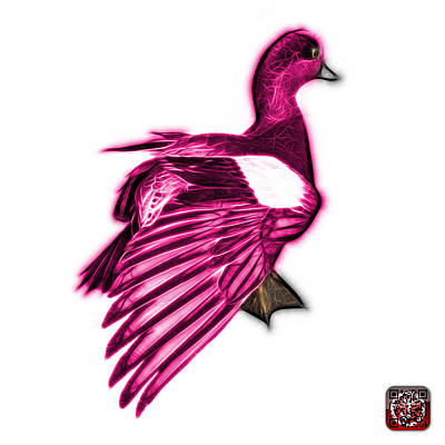 Mixed Media - Pink Fractal Wigeon 7702 - Wb by James Ahn