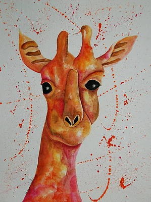 Painting - Pink Giraffe  by Tamyra Crossley