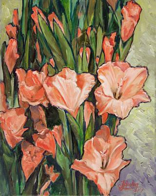 Flower Painting - Pink Gladiolas by Irek Szelag