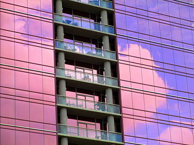 Uptown Charlotte Photograph - Pink Glass Clouds by Randall Weidner