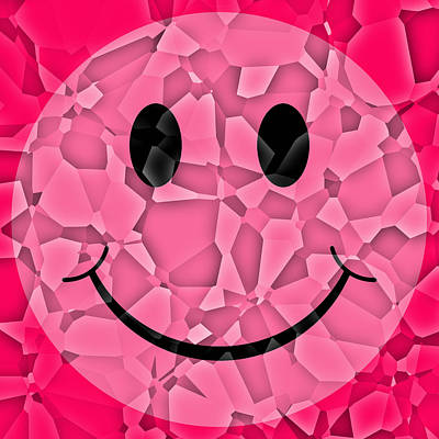 Pasta Al Dente - Pink Glass Shattered Smiley Face by David G Paul