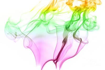 Pink Green And Yellow Smoke Abstract Art Print
