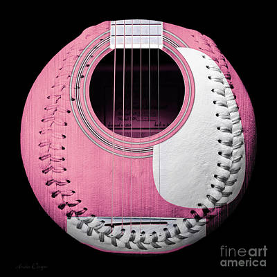 Digital Art - Pink Guitar Baseball White Laces Square by Andee Design