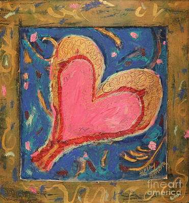Pink Heart On Beveled Wood Art Print by Kelly Athena