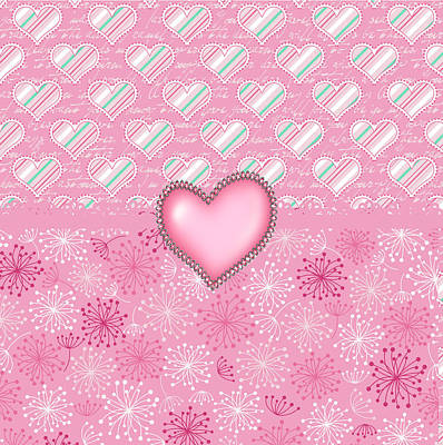 Valentines Day Digital Art - Pink Hearts by Debra  Miller