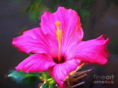 Pink Hibiscus Digital Painting In Oil Art Print