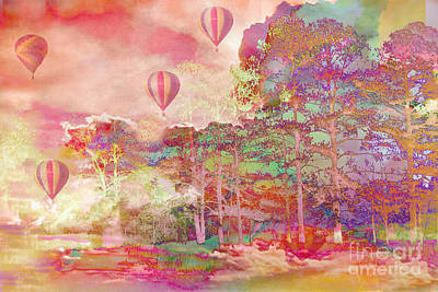 Pink Hot Air Balloons Abstract Nature Pastels - Dreamy Pastel Balloons Art Print