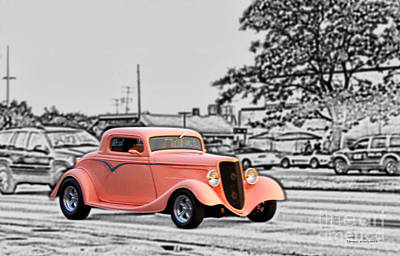 Pink Hot Rod Cruising Woodward Avenue Dream Cruise Selective Coloring Black And White Art Print by Thomas Woolworth