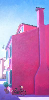 Naive Art Painting - Pink House In Burano Italy by Jan Matson
