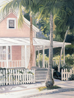 Key West Painting - Pink House by Lucie Bilodeau