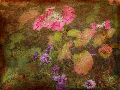 Pink Hydrangea And Purple Pansies Art Print
