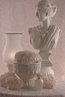 Bottle Art Photograph - Pink Hydrangeas Still Life  by Sandra Foster