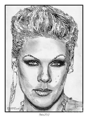 Greyscale Drawing - Pink In 2012 by J McCombie