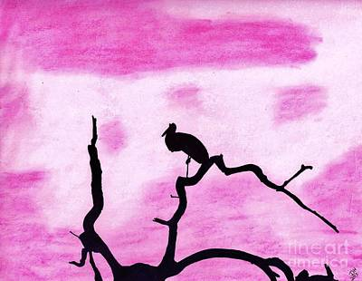 Egret Drawing - Pink In The Sunset by D Hackett