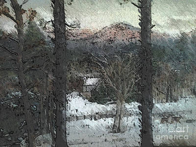 Digital Art - Snow - Pink Mountain - Blueridge Mountains by Jan Dappen