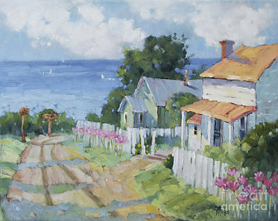 Westport Painting - Pink Lady Lilies By The Sea By Joyce Hicks by Joyce Hicks