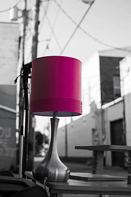 Black And White Photograph - Pink Lamp In The Trash by Nathan Hillis