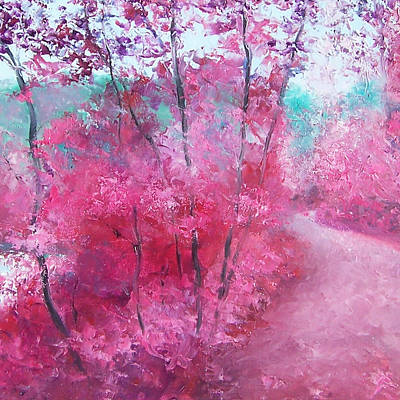 Winding Road Painting - Pink Landscape by Jan Matson