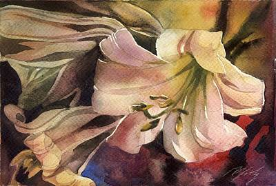 Pink Lilies Art Print by Alfred Ng