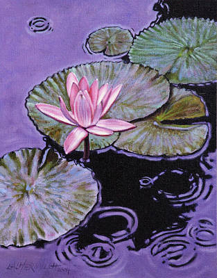 Pink Lily In The Rain Print by John Lautermilch