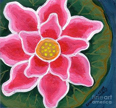 Pink Water Lily Art Print by Genevieve Esson