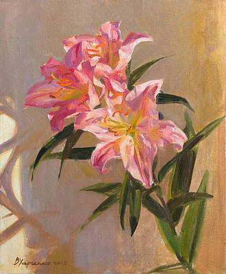 Lilies Royalty-Free and Rights-Managed Images - Pink lily by Victoria Kharchenko