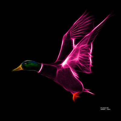 Mixed Media - Pink Mallard Pop Art - 7664 - Bb by James Ahn