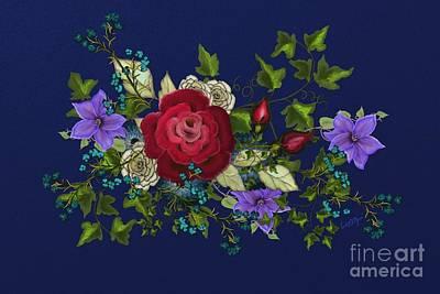 Golden Vines Painting - Pink Metallic Rose On Blue by Nancy Long