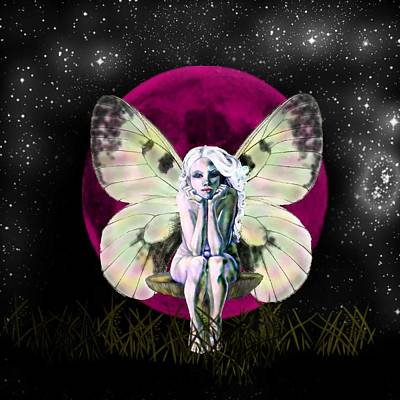 Drawing - Pink Moon Fairy by Diana Shively