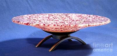 Pink Murrini Bowl With Stand Image B Art Print by P Russell