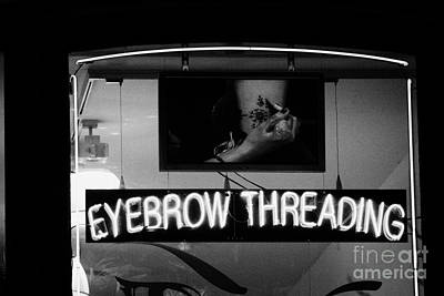 Pink Neon Eyebrow Threading Sign In Shop Window  Art Print by Joe Fox