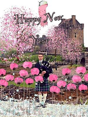 Scottish piper art page 3 of 4 fine art america scottish piper wall art photograph pink new year greeting by joan violet stretch m4hsunfo