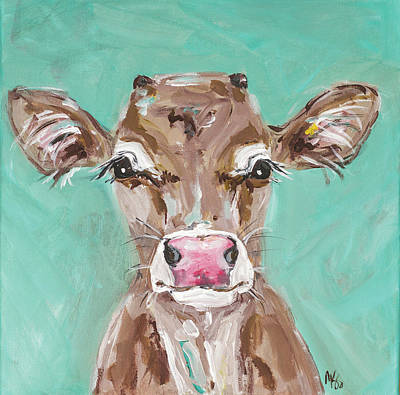 Moos Painting - Pink Nosed Cow by Molly Susan Strong