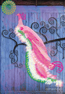 Peacock Digital Art - Pink On Blue by Kim Prowse