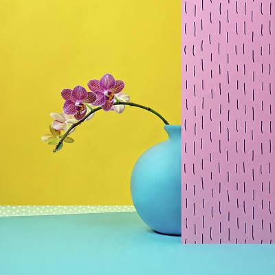 Photograph - Pink Orchid In Blue Vase by Juj Winn