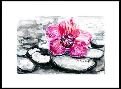 Graphics Painting - Pink Orchid by Lina Tumarkina