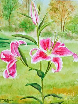 Pink Oriental Lillies Art Print by Kathryn Duncan