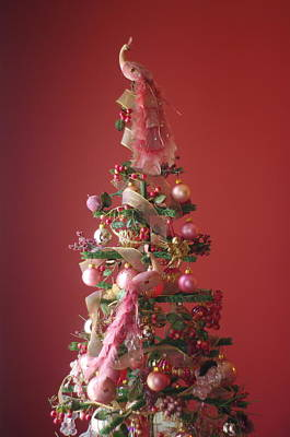 Art Print featuring the photograph Pink Peacock Christmas Tree by Suzanne Powers