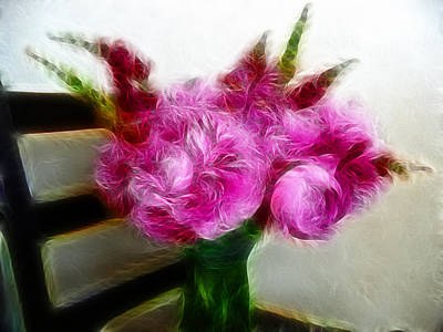 Photograph - Pink Peonies And Snapdragons In Vase by Cindy Wright