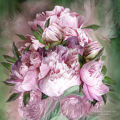 Mixed Media - Pink Peonies Bouquet - Square by Carol Cavalaris