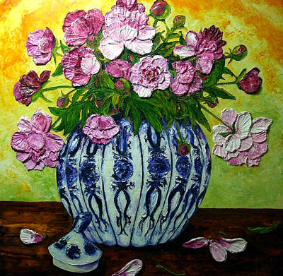 Pink Peonies In A Vase Art Print by Paris Wyatt Llanso
