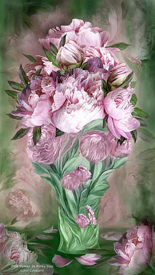 Mixed Media - Pink Peonies In Peony Vase by Carol Cavalaris